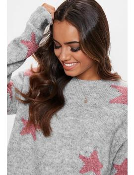 Grey Star Intarsia Print Knitted Jumper by Missguided