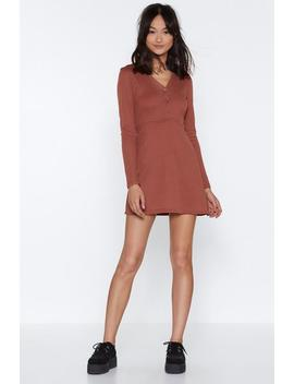 Button Detail Ribbed Long Sleeve Skater Dress by Nasty Gal