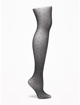 Sheer Dot Patterned Nylon Tights For Women by Old Navy