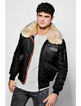 Faux Fur Collar Ma1 Bomber Jacket by Boohoo