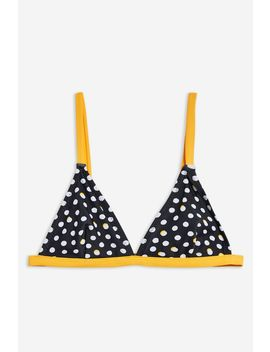 Contrast Spot Triangle Bikini Top by Topshop
