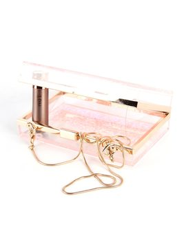 July's Song Pink Liquid Box Sequins Acrylic Clutch Bag Women Shoulder Bags Hard Evening Bags Wedding Crossbody Purse by July's Song