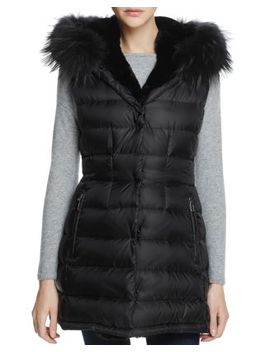Brittany Traveler Fur Trim Down Vest   100 Percents Exclusive by Dawn Levy