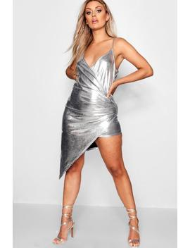 Plus Metallic Wrap Split Side Dress by Boohoo