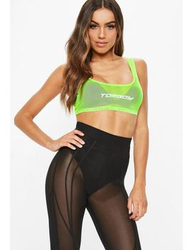 Fanny Lyckman X Missguided Neon Green Mesh Crop Top by Missguided