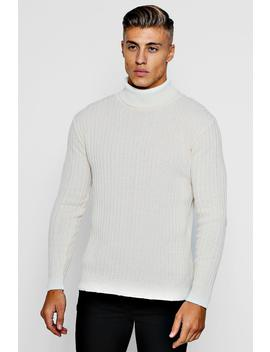 Muscle Fit Ribbed Long Sleeve Roll Neck Jumper by Boohoo