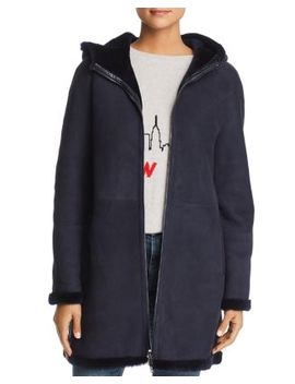 Hooded Suede & Lamb Shearling Coat   100 Percents Exclusive by Maximilian Furs