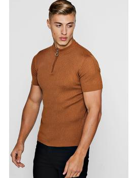 Short Sleeve Rib Knitted Turtle Neck by Boohoo