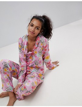 Asos Bright Floral 100 Percents Modal Traditional Shirt & Trouser Pyjama Set by Asos Collection