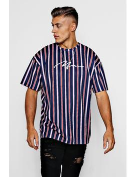 Oversized Stripe T Shirt With Man Signature Embroidery by Boohoo