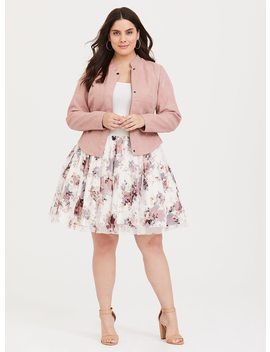 White Floral Tulle Challis Mini Skirt by Torrid