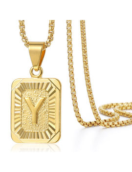 Mens Women Chain Gold Filled Square Initial Letter A Z Box Link Pendant Necklace by Ebay Seller