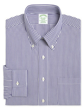 Men's Milano Extra Slim Fit Non Iron Broadcloth Blue Bengal Stripe Dress Shirt by Brooks Brothers