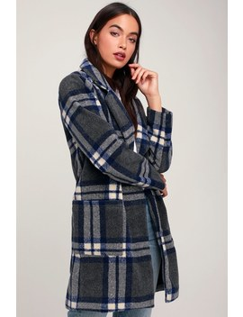 Eleanor Blue And Dark Grey Plaid Coat by Lulus