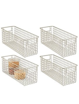 "M Design Farmhouse Decor Metal Wire Food Storage Organizer Bin Basket With Handles For Kitchen Cabinets, Pantry, Bathroom, Laundry Room, Closets, Garage   16"" X 6"" X 6""   4 Pack   Satin by M Design"