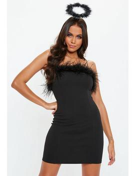 Black Feather Trim Mini Dress by Missguided