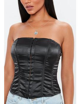 Black Strapless Bonded Corset by Missguided
