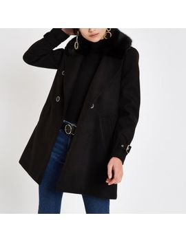 Black Faux Fur Collar Double Breasted Coat by River Island