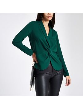 Green Twist Front Long Sleeve Blouse by River Island