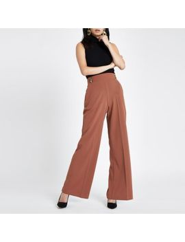 Brown Double Button Wide Leg Pull On Pants by River Island