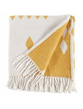 "Rivet Colorful Geometric Diamond Jacquard Reversible Throw Blanket, 50""X60"", Mustard/White by Rivet"