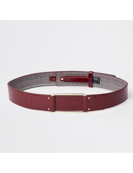 Dark Red Square Buckle Waist Belt by River Island