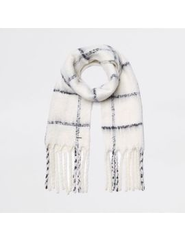 Cream Check Scarf by River Island