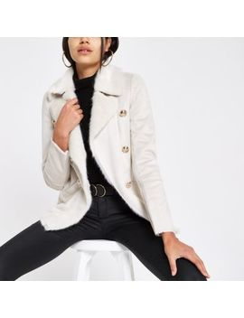 Cream Faux Shearling Chuck On Coat by River Island