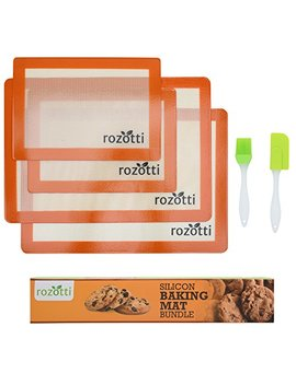 Rozotti Silicone Baking Mat Bundle (6 Piece Set) 2 Half Sheets Silicone Baking Mat And 2 Quarter Sheets Silicone Baking Mat, Silicone Baking Brush, Silicone Baking Spatula | Non Stick, Heat Resistant by Rozotti Silicone Baking Mat