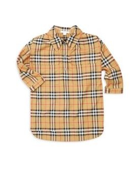 Little Girl's & Girl's Maryalice Cotton Shirtdress by Burberry