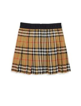 Little Girl's & Girl's Pansie Cotton Plaid Skirt by Burberry
