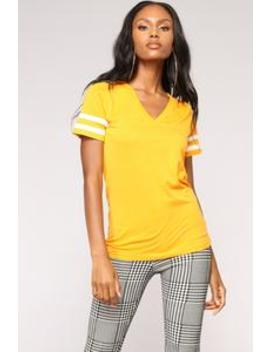 Game On V Neck Top   Mustard by Fashion Nova