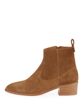 Tanner Suede Zip Booties by Veronica Beard