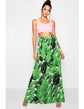 Woven Floor Sweeping Palm Print Maxi by Boohoo