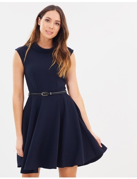 Stand Collar Skater Dress by Closet London