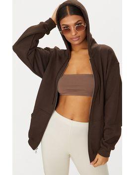 Brown Fleece Zip Hoodie by Prettylittlething
