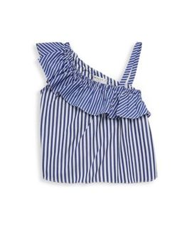 Toddler's, Little Girl's & Girl's One Shoulder Ruffle Top by Milly Minis