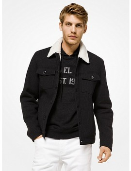 Sherpa Lined Twill Trucker Jacket by Michael Kors Mens