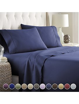 Hotel Luxury Bed Sheets Set  1800 Series Platinum Collection Deep Pocket,Wrinkle & Fade Resistant (Queen,Navy Blue) by Hc Collection
