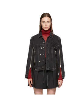 Black Zippered Denim Jacket by 3.1 Phillip Lim