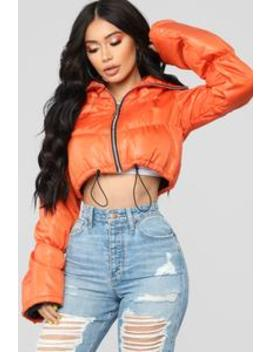 Sold Out Bell Sleeve Puffer Jacket   Orange by Fashion Nova