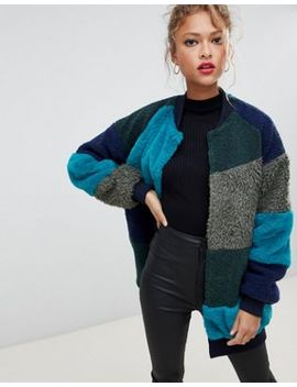 Noisy May Faux Fur Patchwork Coat by Noisy May