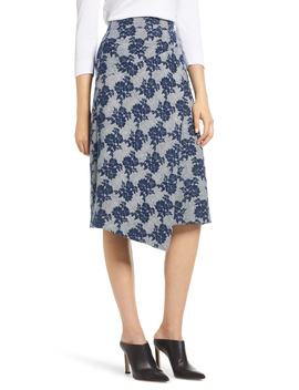 Floral Plaid Asymmetrical Skirt by Halogen®