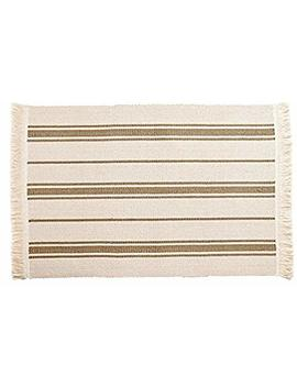 Ikea Flatwoven Area Kitchen Rug Stripes Cotton Beige Taupe Throw Mat by Signe