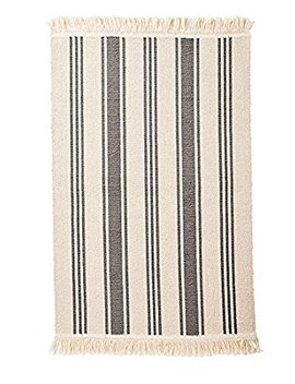 Ikea Flatwoven Area Kitchen Rug Stripes Cotton Gray Natural Throw Mat by Signe