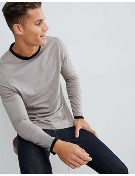 Asos Design Long Sleeve T Shirt With Contrast Ringer In Beige by Asos Design