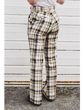 Vintage 70s Check Flared Trousers by Happy Dais