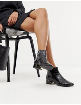 Mango Croc Print Ankle Boot With Metal Insert In Black by Mango