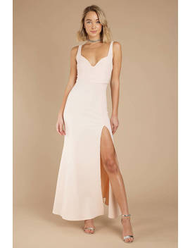 Ever Mine Champagne High Slit Maxi Dress by Tobi