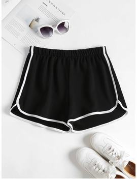 Contrast Trim Dolphin Shorts   Black S by Zaful